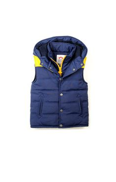 Appaman Hooded Puffy Vest Galaxy Blue with yellow trim. Fleece Lined.