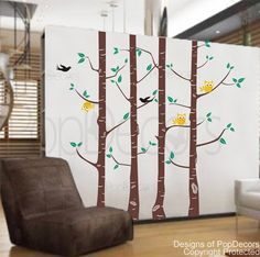 On sale - Owl and Tree decals - 102 inch H - Vinyl Wall Decals Stickers Removable Home Decor by Pop Decors. $79.00, via Etsy.