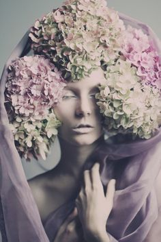 Craig Schlewitz... | hydrangeas | beauty | fashion editorial | pale | pastels | lavender