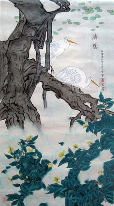 Lily Zhang - Birds on Tree #brushpainting #fineline #Ink and Wash Painting #Chinese Art #Japanese Art