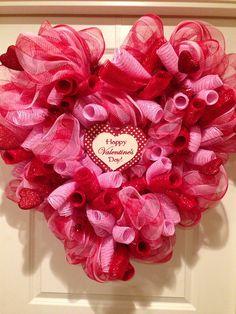Valentine's Day Deco Mesh Heart Wreath