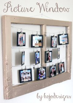 DIY picture window by kojodesigns...I found a picture hanging kit at the dollar store with the wire in it...could use a reclaimed or thrift store frame and binder clips or clothespins depending on style preference.