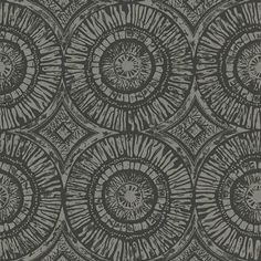 Suvi (110471) - Scion Wallpapers - A large circular pattern displaying the marks and textures of the hand-carved block print technique. Shown here in charcoal colouring - more colours are available. Please request a sample for true colour match. Paste-the-wall product.