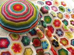African Flower blanket by Elizabeth Cat... The pillow is just two giant hexagons put together