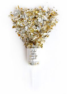 All that glitters must be gold…and silver. Add extra fun to your celebration with this push-pop confetti that will make for a great entrance or farewell at any party. The confetti flying fun begins by Push Pop Confetti, Glitter Confetti, Glitter Bomb, Silver Glitter, Metallic Gold, Gold Foil, Wedding Welcome Bags, Simple Machines, Wedding Reception Decorations