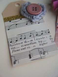 Sheets of music wrapped on a card