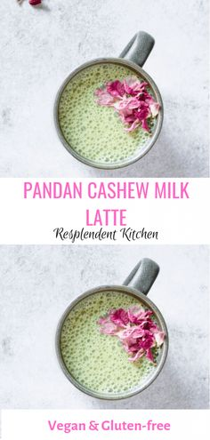 Vegan Pandan Cashew Milk Latte recipe for how to make a homemade latte Refreshing Cocktails, Yummy Drinks, Healthy Drinks, Cold Drinks, Beverages, Cashew Milk, Cashew Cheese, Milk Recipes, Kitchen Recipes