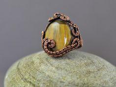 Copper wire wrap ring tiger eye ring gemstone by OrioleStudio
