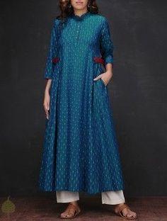 Blue-White Ikat Mandarin Collar Handloom Cotton Kurta
