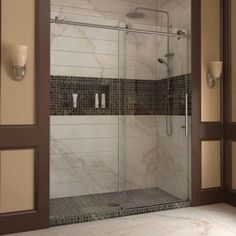 DreamLine Enigma-X 56 in. to 60 in. x 76 in. Frameless Sliding Shower Door in Brushed Stainless Steel-SHDR-61607610-07 - The Home Depot