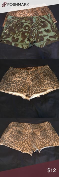 Express shorts bundle🖤🖤 Camo express shorts like new!!!! Wore once. No missing studs or flaws!!! Size 6. Decree animal print shorts in great condition, maybe wore twice. No flaws!!! Size 7 will sell separate! Express Shorts