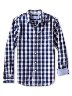 Slim-Fit Soft-Wash Windowpane Plaid Shirt Product Image
