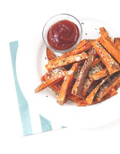 BAKED SWEET POTATO FRIES  <[Ingredients]> 1 large sweet potato 1 tsp. corn starch 1/2 tsp. cumin a couple dashes of sea salt about 1 tbsp. olive oil about 1 tbsp. grated parmesan, finely chopped about 1 tsp. cilantro, chopped