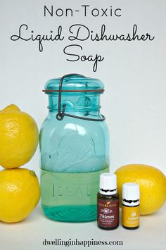 Non-Toxic Dishwasher Liquid ~ Uses Young Living's Thieves essential-oil blend, and lemon essential oil.