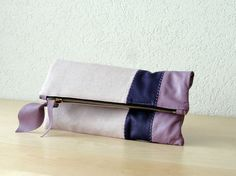 Leather Clutch in Italian Leather and Lavander Linen  by iragrant, $59.00