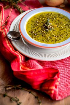 Green-Lentil Soup with Coconut Milk & Indian Spices