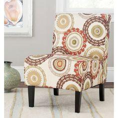 Marka Birchwood-Hardwood Slipper Chair in Multi-Beige, Brown, Orange, and Green, Multi