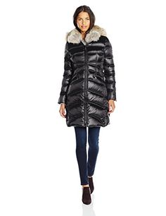 Dawn Levy Cloe II Down Coat with Corest Sides and Fur Hood Black Medium ** For more information, visit image link.