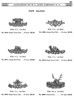 H L JUDD CO., N.Y. cast metal pipe racks, Catalogue No. 50, January 1913, pg. 297. Native American, dogs, camel, black Americana, stag