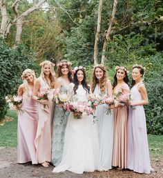 Bridesmaids in mismatched pastel dresses