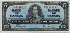 Bank of Canada 1937 Ten Dollar Bill The portrait of George VI wearing an admiral's uniform was based on a photograph taken by Bertra. Canadian Coins, Canadian Dollar, Canadian History, 10 Dollar Bill, Dollar Bill Origami, Old Coins, Rare Coins, Nicola Tesla, Valuable Coins