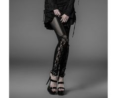 Rebelsmarket black lace garter leggings gothic laces visual kei punk jeggings 9 to ship pants and jeans 5