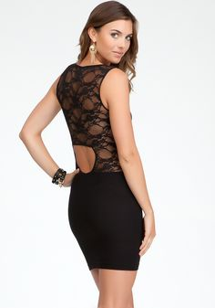 Back Cutout Lace Dress from Bebe    Get 5% cash back - http://www.studentrate.com/all/get-all-student-deals/bebe-Student-Discounts--/0