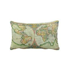 Antique World Map pillow.... Would like to have to go in my office.. Matches its theme