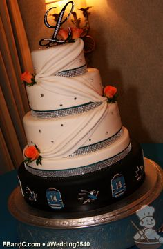 "Design W 0540 | Fondant Cover Wedding Cake | 16""+12""+9""+6"" (with a faux layer dividing bottom tier & rest of cake) 