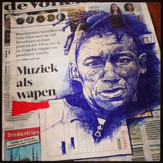 29th May - Tricky business - bic and collage on newspaper
