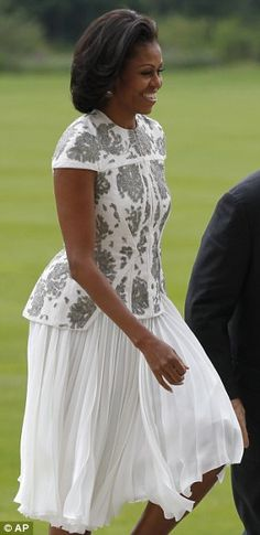 Michelle Obama wore silver-and-white J Mendel for an evening's reception at Buckingham Palace