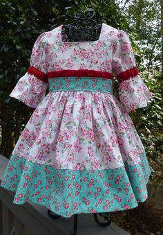 Beautiful blue and pink floral dressy dress for little girls by EmelineDesign on Etsy