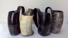 SET OF 4 Viking Drinking Horn Mug goblet chalice Tankard beer wine mead pagan