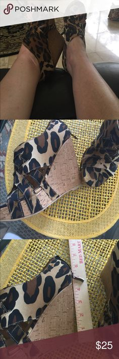 "XOXO leopard print wedge sandals❤️ XOXO leopard print wedge sandals❤️ these are the without a doubt the ""bomb""!!!! Worn only 2x almost perfect except for small wear on bottom! I just have to give up these heels! It's not easy!!! Size 7 but would be fine for 61/2... XOXO Shoes Wedges"