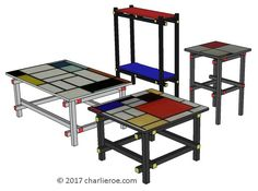 TDS - The Design Service - New Gerrit Rietveld Piet Mondrian De Stijl coffee side console tables