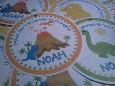 Personalized Dinosaur DinoMite Roar 3 Favor by PartyCelebrations, $5.50