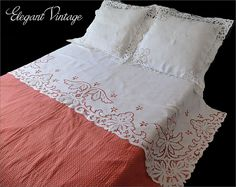 Magnificent Vintage Linen Sheet Cover & Shams *Cutwork, Monogram *Hand Made Found on Ruby Lane