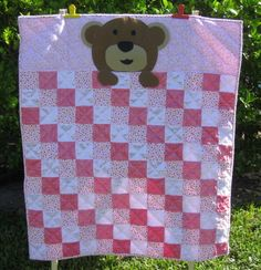 Teddy Bear Nighty Night - a handmade baby crib quilt for girls made of 100% cotton baby flannel and minky.