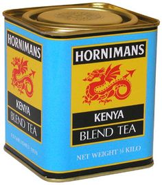 Horniman's Kenya Blend Tea tin ... sky blue with lack and gold label area, dragon logo in red, square w/ inset lid