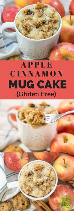 Apple cinnamon gluten free mug cake is the perfectly sized individual gluten free coffee cake. Full of apple, cinnamon, and a gluten free oatmeal cookie streusel. via @GLUTENFREEMIAMI