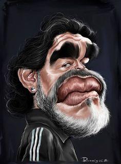 Diego Armando Maradona by Maxi Rodríguez Cartoon Faces, Funny Faces, Cartoon Art, Funny Caricatures, Celebrity Caricatures, Famous Art, Famous Faces, Diego Armando, Comic Face