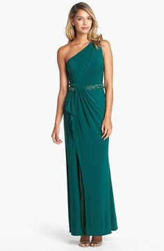 JS Boutique Beaded Waist One-Shoulder Jersey Gown on shopstyle.com