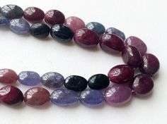 Ruby And Sapphire Plain Oval Beads Ruby Sapphire by gemsforjewels