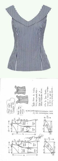 Blusa gola moldura | DIY - molde, corte e costura - Marlene Mukai