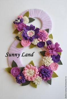 Купить Декоративная цифра ко дню рождения - сиреневый, розовый, фиолетовый, цветы из фетра