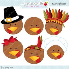 Turkey Faces Cute Thanksgiving Digital Clipart by JWIllustrations
