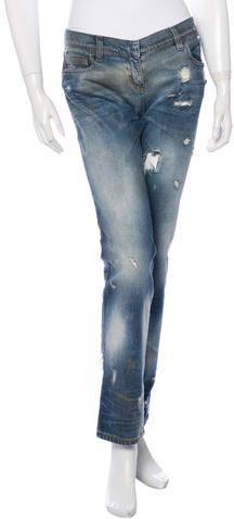 Balmain Distressed Mid-Rise Jeans Balmain, Skinny Jeans, Denim, Stylish, Pants, Tops, Women, Fashion, Trouser Pants