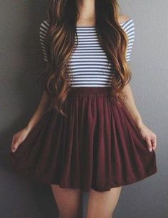 afced2c2362b Pretty Casual Spring Fashion Outfits for Teen Girls 26 Maroon Skirt Outfit