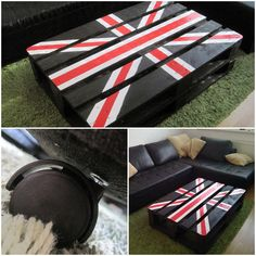 """Union Jack"" Pallet Table #CoffeeTable, #Painted, #PalletTable, #ReclaimedPallet"