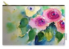 Pink Roses Bouquet Carry-all Pouch for Sale by Britta Zehm